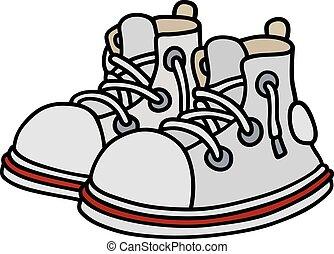 engraçado, branca, sneakers