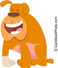 engraçado, buldogue, cão, caricatura, personagem