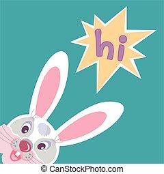 engraçado, bunny easter, cartão