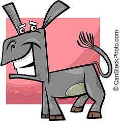 engraçado, burro, caricatura, ilustração