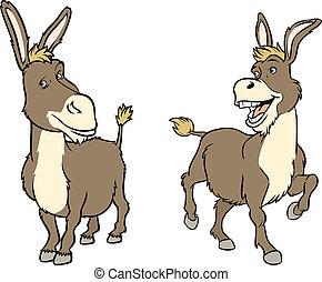 engraçado, burro, caricatura