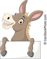 engraçado, burro, com, sinal branco