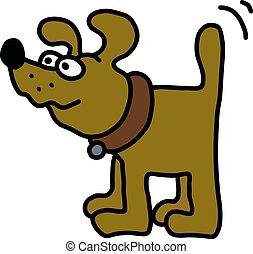 engraçado, cão, amarela