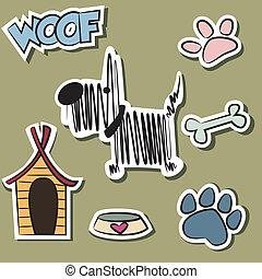 engraçado, cão, e, acessório, adesivo, jogo