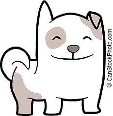 engraçado, cão, ilustração