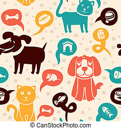 engraçado, cachorros, gatos, seamless, padrão