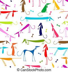 engraçado, cachorros, seamless, fundo, para, seu, desenho