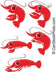 engraçado, camarão, caricatura