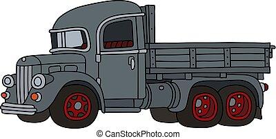 engraçado, caminhão, cinzento, retro