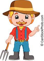 engraçado, caricatura, agricultor