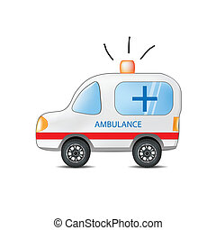 engraçado, caricatura, ambulância