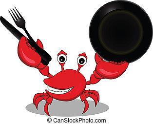 engraçado, caricatura, carangueijo, vermelho