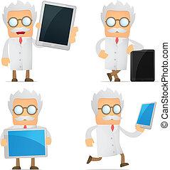 engraçado, caricatura, cientista, com, um, laptop