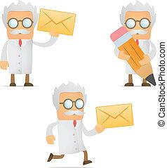engraçado, caricatura, cientista, com, um, letra