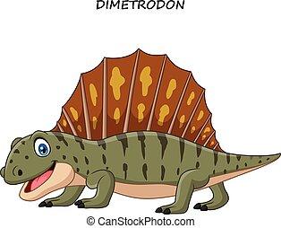 engraçado, caricatura, dimetrodon