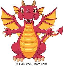engraçado, caricatura, dragão