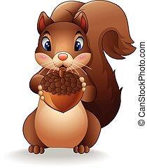 engraçado, caricatura, esquilo