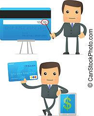engraçado, caricatura, homem negócios, com, cartão crédito