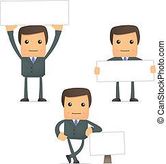 engraçado, caricatura, homem negócios, com, em branco, bandeira