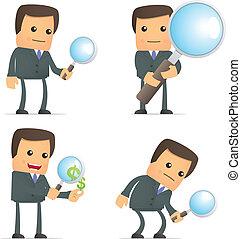 engraçado, caricatura, homem negócios, com, lupa