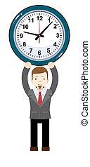 engraçado, caricatura, homem negócios, com, relógio