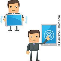 engraçado, caricatura, homem negócios, com, um, laptop