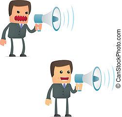 engraçado, caricatura, homem negócios, com, um, megafone