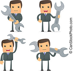 engraçado, caricatura, homem negócios, com, um, spanner