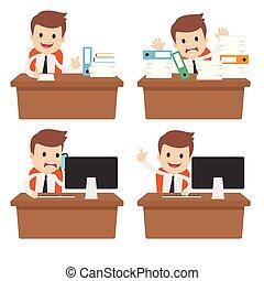 engraçado, caricatura, homem negócios, em, um, escrivaninha