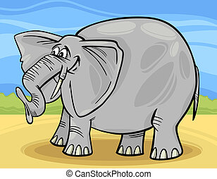 engraçado, caricatura, ilustração, elefante