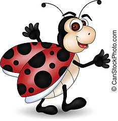 engraçado, caricatura, ladybug