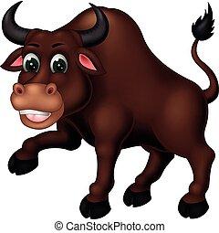 engraçado, caricatura, marrom, touro