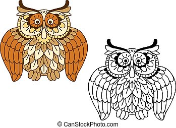 engraçado, caricatura, pássaro, marrom, coruja