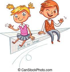 engraçado, caricatura, personagem, school., costas