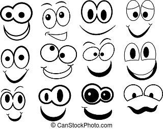 engraçado, caricatura, rosto