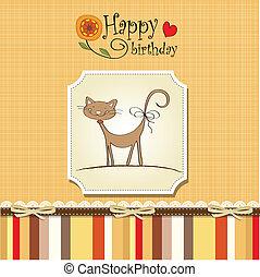 engraçado, cartão aniversário, gato