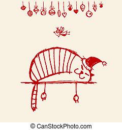engraçado, cartão, gato, desenho, santa, seu, natal
