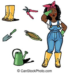 engraçado, cartton, ferramentas, jardins, jardineiro
