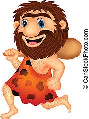 engraçado, caveman, caricatura