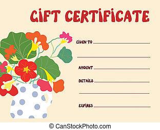 engraçado, certificado presente, desenho, modelo, flores