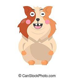 engraçado, cheio, animal estimação, comprimento, hamster, retrato, branca