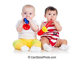 engraçado, childrenplaying, brinquedo musical