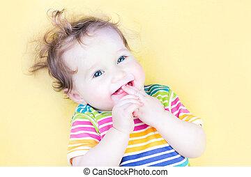 engraçado, chupar, dela, dedo, menina bebê