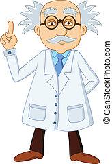 engraçado, cientista, caricatura, personagem