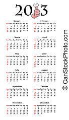 engraçado, cima, polegares, calendário, caricatura, 2013