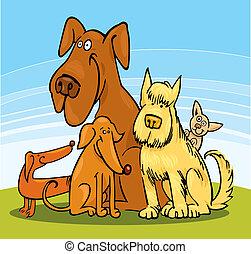 engraçado, cinco, cachorros