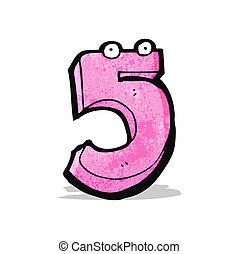engraçado, cinco, caricatura, número