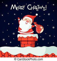 engraçado, claus, chimney., santa, cartão natal