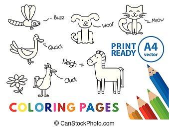engraçado, coloração, animais, livro