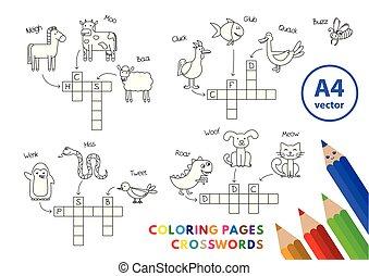 engraçado, coloração, animais, livro, crosswords